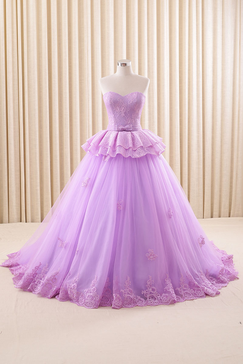 Lavender Ball Gown Tulle 2016 Wedding Dresses Sweetheart Lace Accent ...
