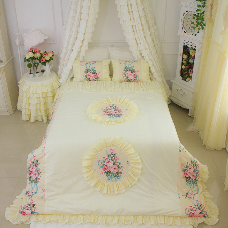 US $25.0 |Korean Luxury Beige yellow Bedding sets Curtains Window Bedroom  LACE FLORALCream YELLOW Curtains European Style Floral Curtain-in Curtains  ...