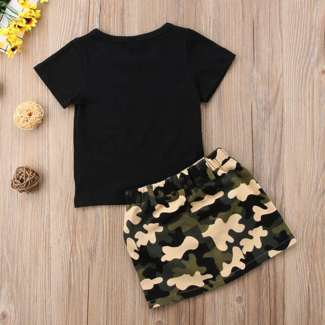 US $4.66 23% OFF|Toddler Kids Baby Girl Clothing T shirt Tops Camo Skirt  Casual 2pcs Summer Cotton Outfits Clothes Baby Girls 6M 4T-in Clothing Sets  ...