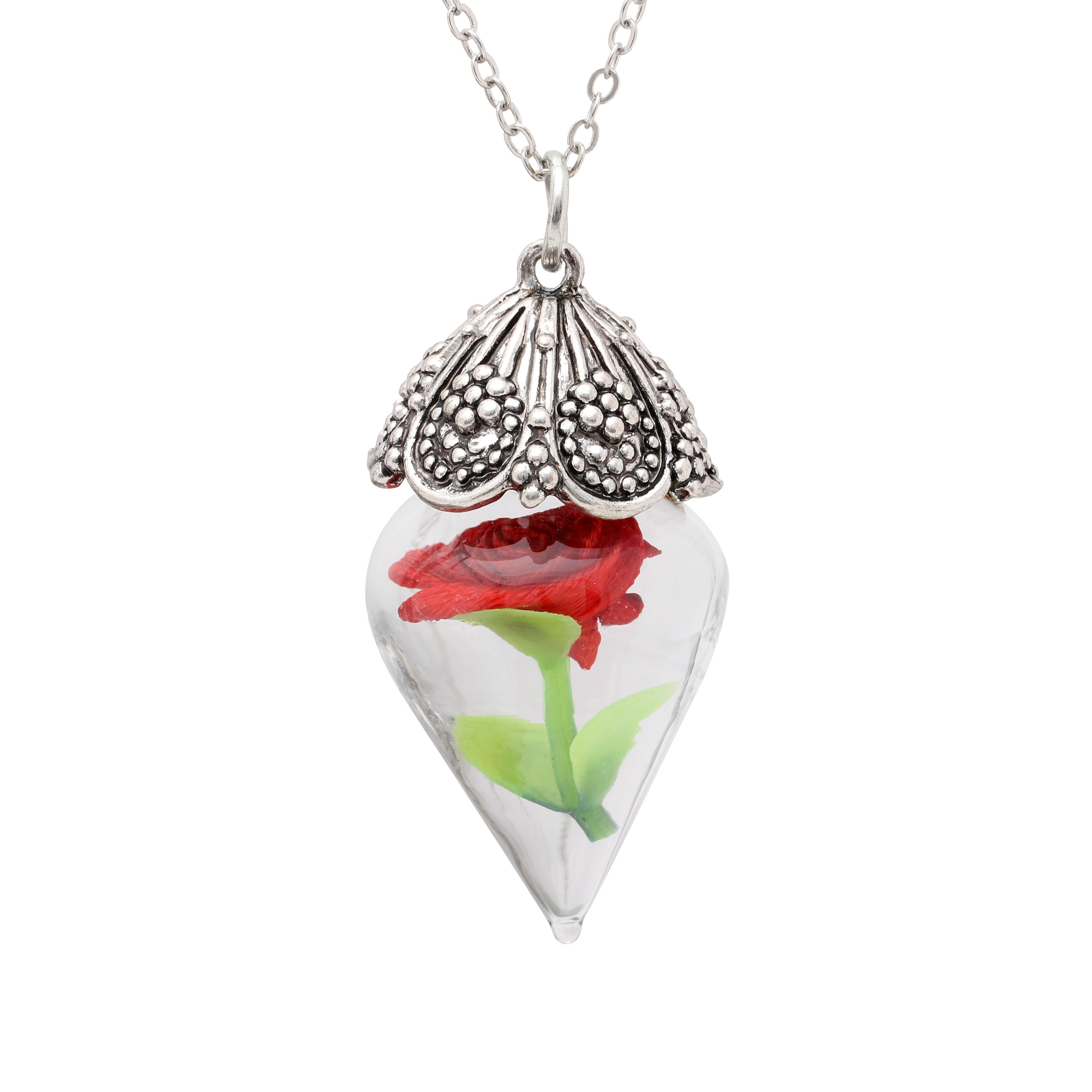 jemné šperky přívěsek náhrdelník skleněná láhev růže květ anti stříbrná barva 16-30 vodní vlny řetěz Vintage ženy svatební nevěsta dárek
