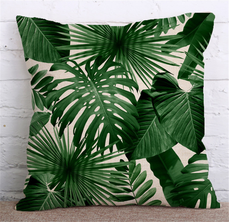 Green Leaves Linen Throw Pillow Case Africa Tropical Plant Printed Cushion Cover