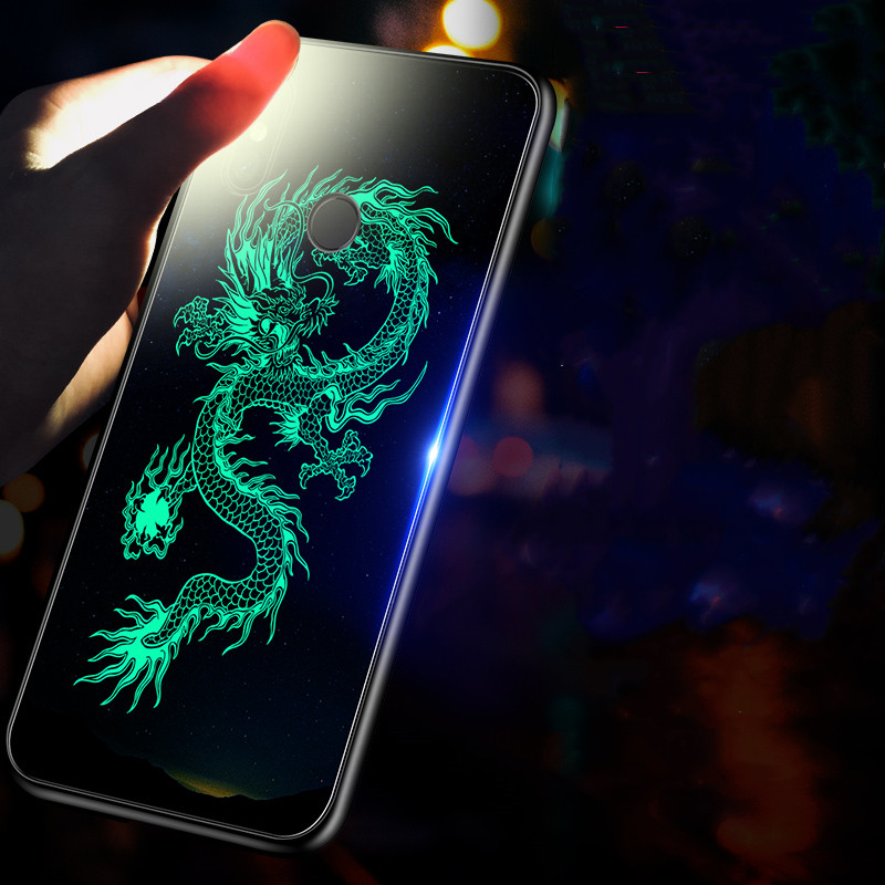 Case for Xiaomi Mi 9 Xiaomi Mi 9 SE Luminous Tempered Glass Case for Xiaomi Mi9 Xiaomi Mi 8 9SE Lite cc9 9t Pro Mi9 Case Cover in Fitted Cases from Cellphones Telecommunications