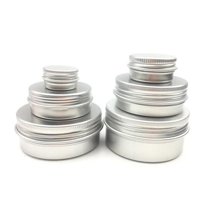 50 teile/los 5g 10g 15g 20g 30g 40g 50g 60g Aluminium Creme jar Pot Nail art Make Up Lip Gloss Leere Kosmetische Metall Zinn Container