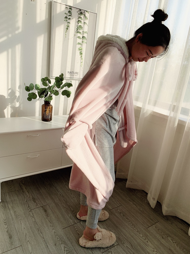 Cute Pink Comfy Blanket Sweatshirt Winter Warm Adults and Children Rabbit Ear Hooded Fleece Blanket Sleepwear Huge Bed Blankets 131