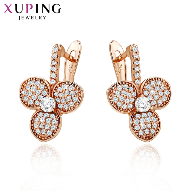 Xuping Fashion Earrings Top Sale High Quality European Style Charm Design Gold Color Plated Costume Jewelry 90012