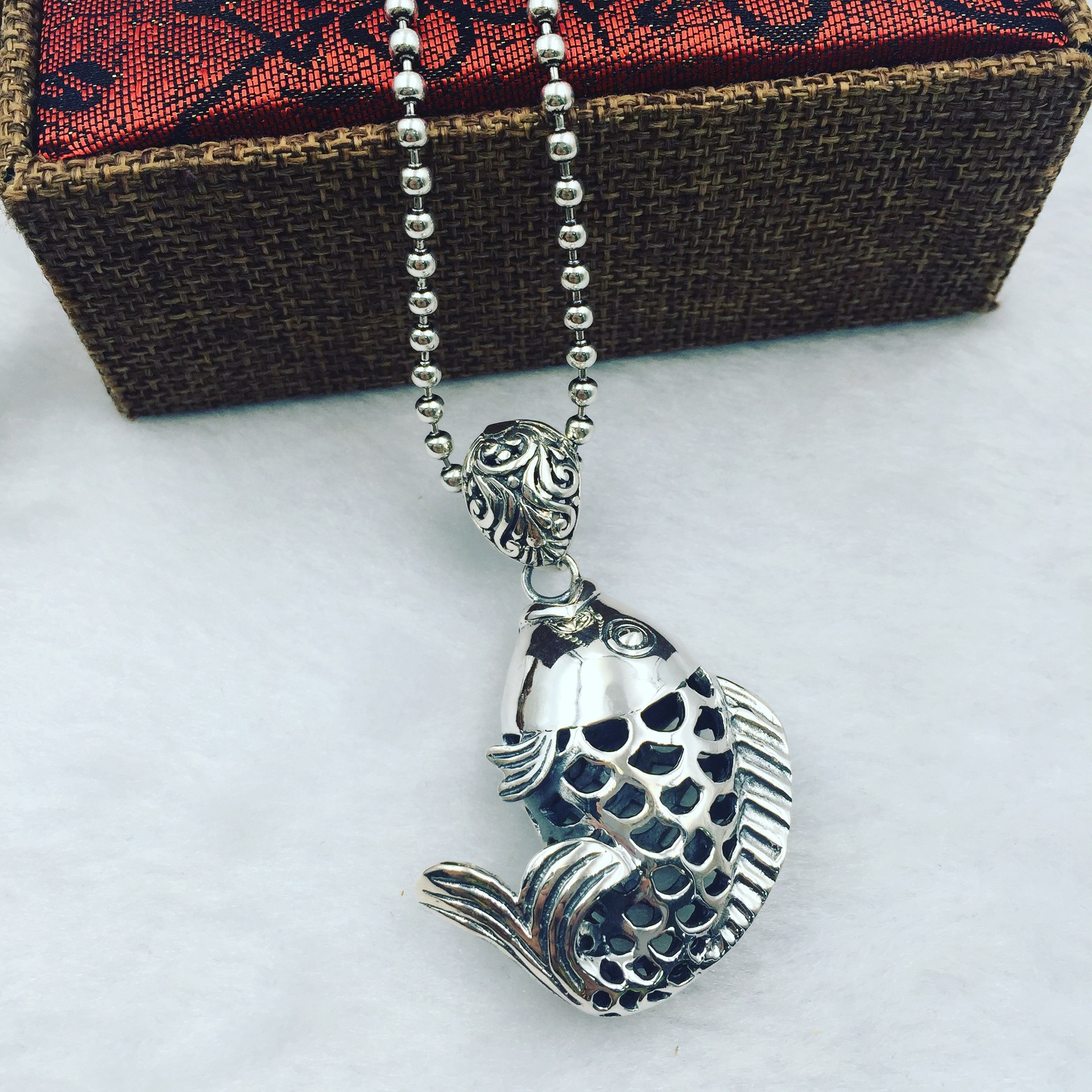 The ancient Thai silver silver carp Koi genuine S925 Solid Silver Pendant Pendant Chain sweater factory direct genuine s925 sterling silver pendant silver abacus activities auspicious clouds sweater chain pendant factory direct