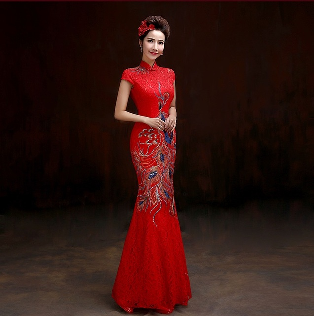 Phoenix Embroidery Red Long Lace Fishtail Formal Cheongsam Qipao