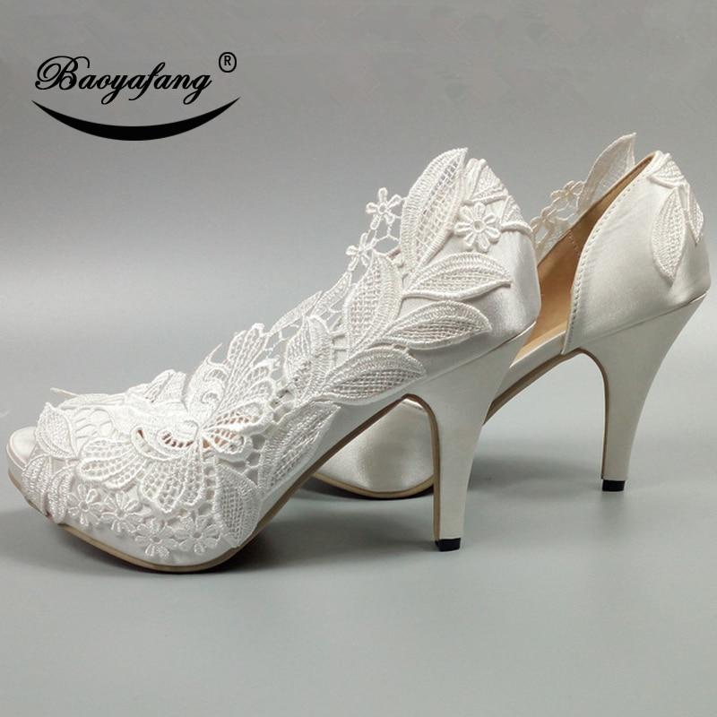 Wedding High Heels Sandals: BaoYaFang High Heels Peep Toe Open Side Women Wedding