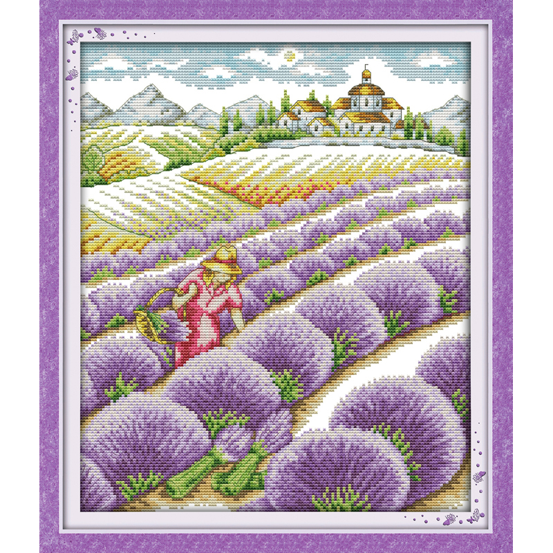 Everlasting love Lavender field Chinese cross stitch kits Ecological cotton stamped printed DIY 11 New year decorations for home