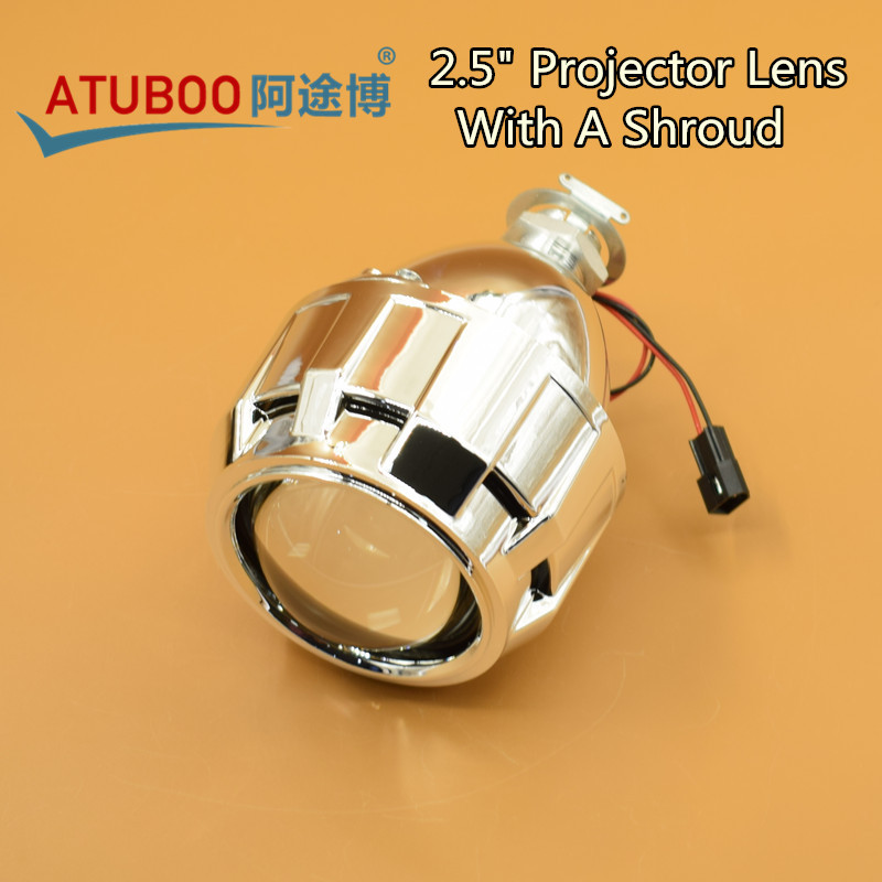 Good quality 2.5 HID Bi-Xenon Projector Lens with Mini Gatling Gun Shroud H1 Bulb Socket for Car Styling H7 H4 Headlight
