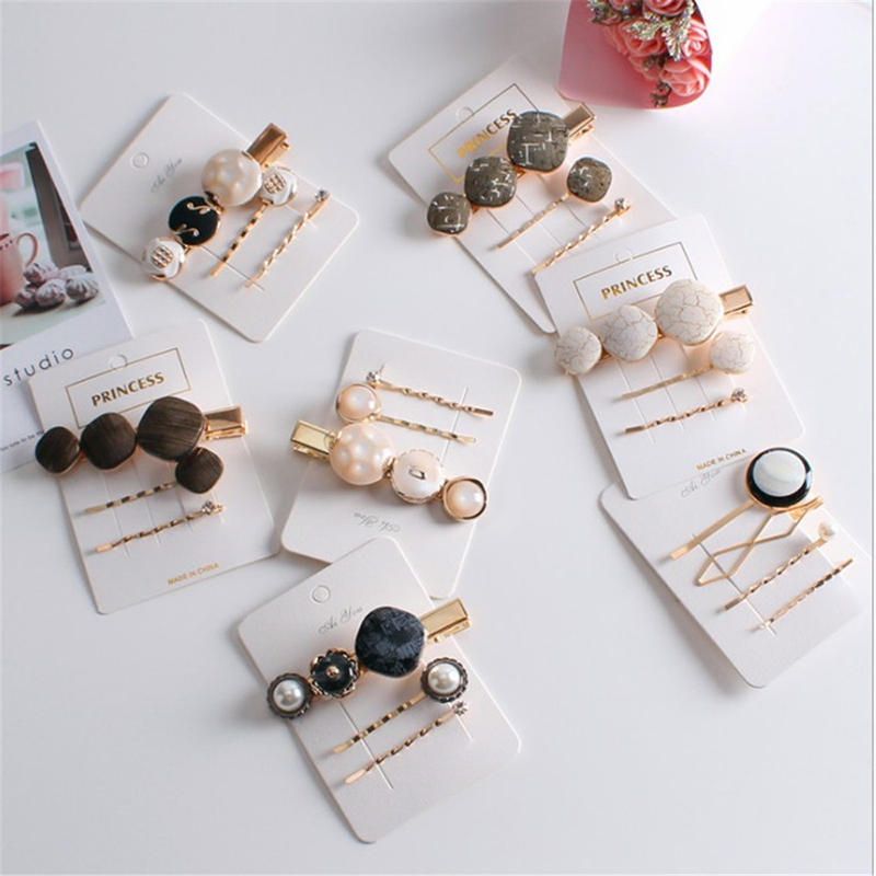 3pcs/Set Vintage Fashion Korean Women Imitiation Pearl Hair Clip Button Hairband Bobby Pin Barrette Hairpin Accessories New
