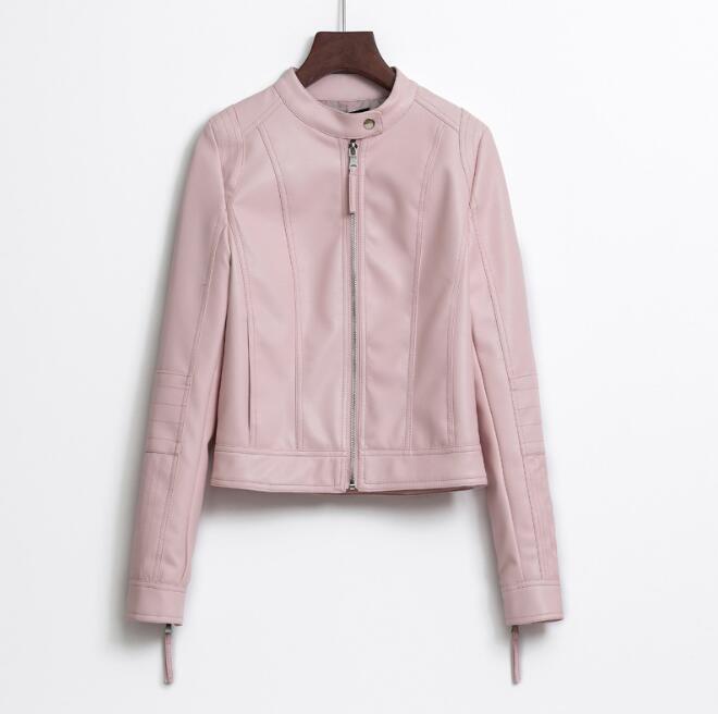 High-quality female jacket 2018 spring jacket Korean Slim short   leather   women PU motorcycle jacket female models   leather   jacket