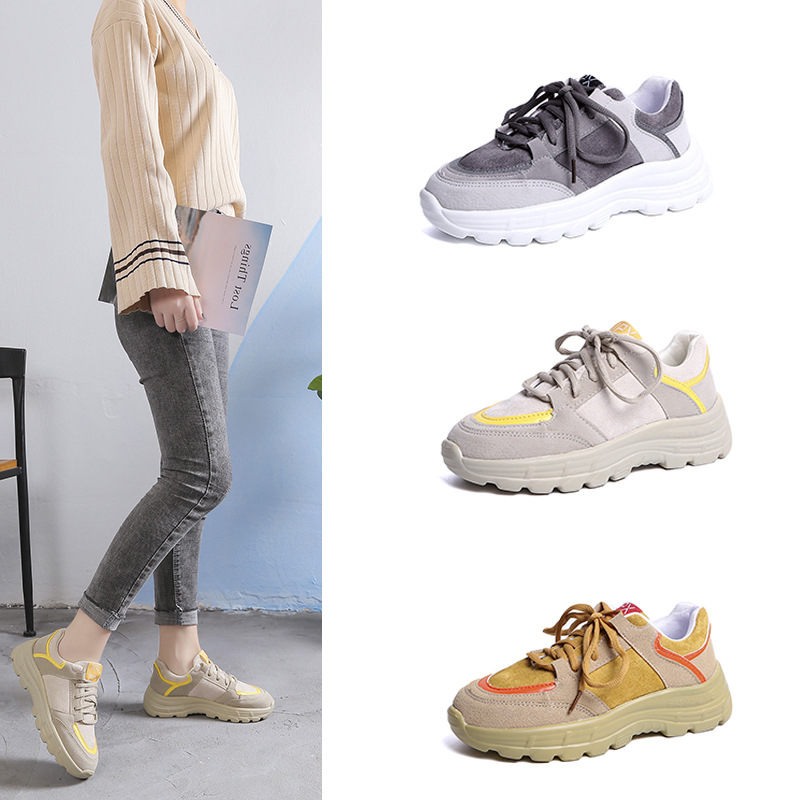 Spring Autumn 2019 Daddy shoes female new Walking shoes Sponge cake Thick bottom Student Genuine leather Leisure Tennis shoes 6