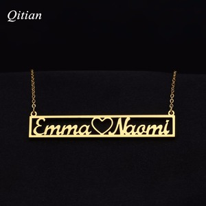 Customized Nameplate Hollow Bar Necklaces Gold Stainless Steel Name Necklaces High Qaulity Handmade Jewelry
