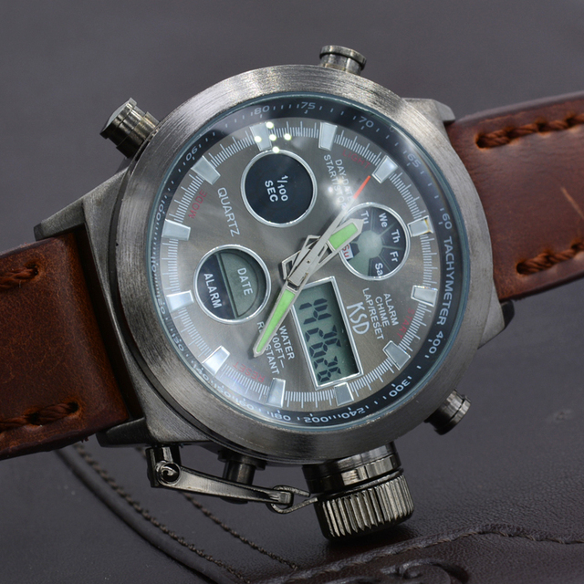 8a7bc4c00e8 TOP Fashion Luxury Brand Men s Military Wristwatch Multifunctional Dual  Movt Electronic Digital Watch Men Leather Sports Watches