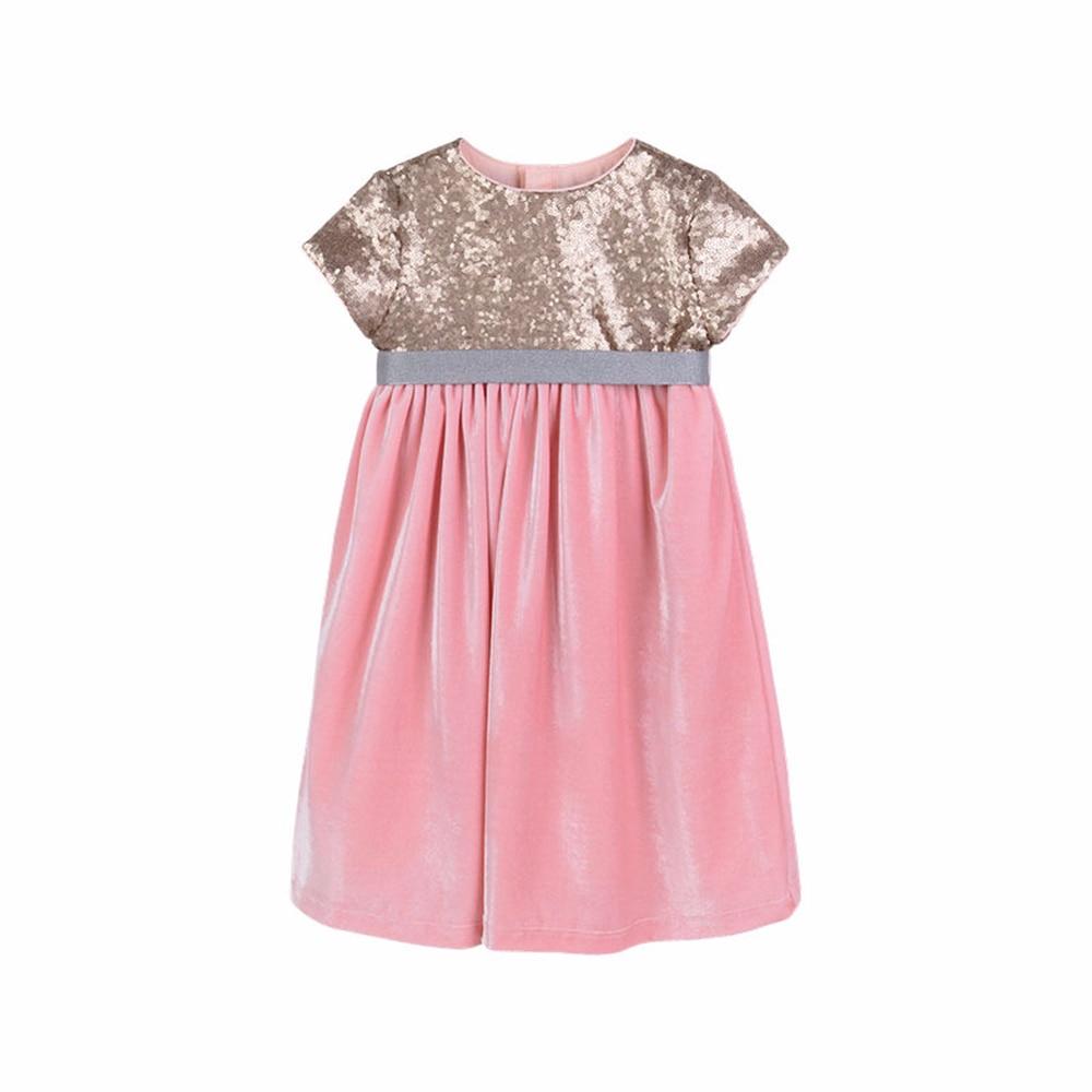 2019 été nouveau mode vêtements de fille paillettes velours couture empereur taille haute rétro élégant à manches courtes robe formelle