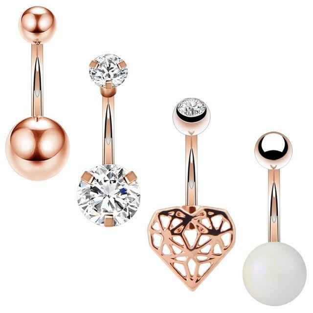 Us 6 8 Body Punk New Arrival Belly Button Rings Clear Zircon Heart Women Body Jewelry Rose Gold Navel Piercing Belly Piercing In Body Jewelry From