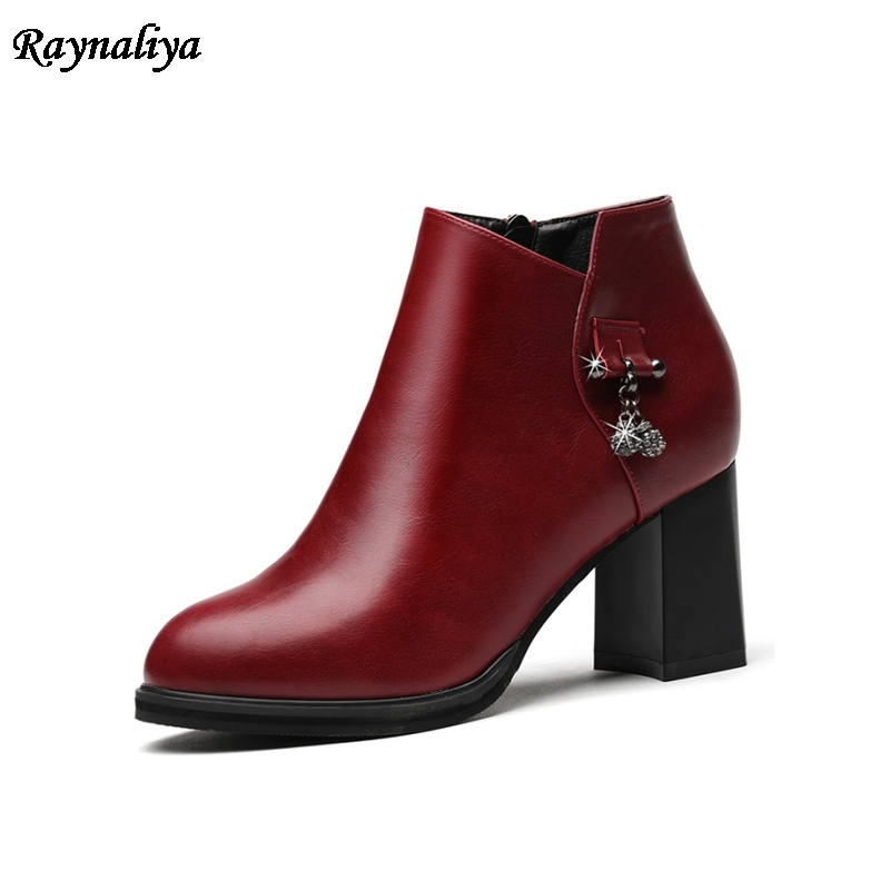 Genuine Leather Shoes Women Ankle Boots Autumn Thick High Heel Martin Boots Zip Winter Handmade Shoes Boot Black LSN-A0006 women led light shoes casual shoes led luminous boots unisex genuine leather ankle boots women usb charging martin boots 35 46