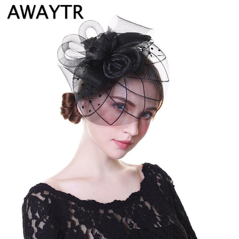 AWAYTR Chic Fascinator Hat Women Wedding Hair Accessories Vintage Cocktail Party   Headwear   for Girls Feather Veil Hair Clip