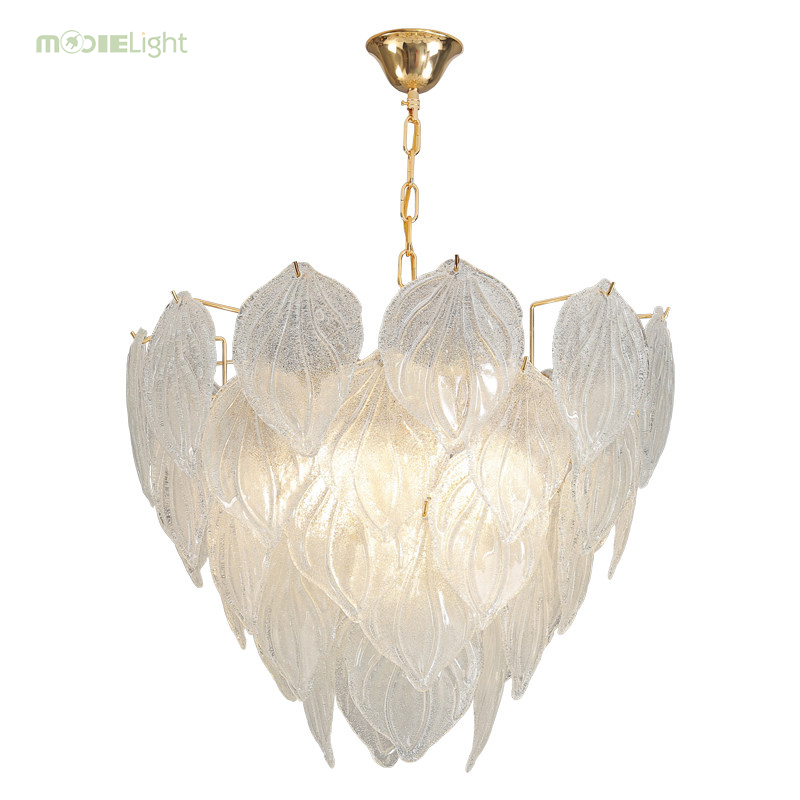 Mooielight Luxury Modern Glass Chandelier Lighting For Dining Room Rectangle Hanging Light Fixture Kitchen Island White LED