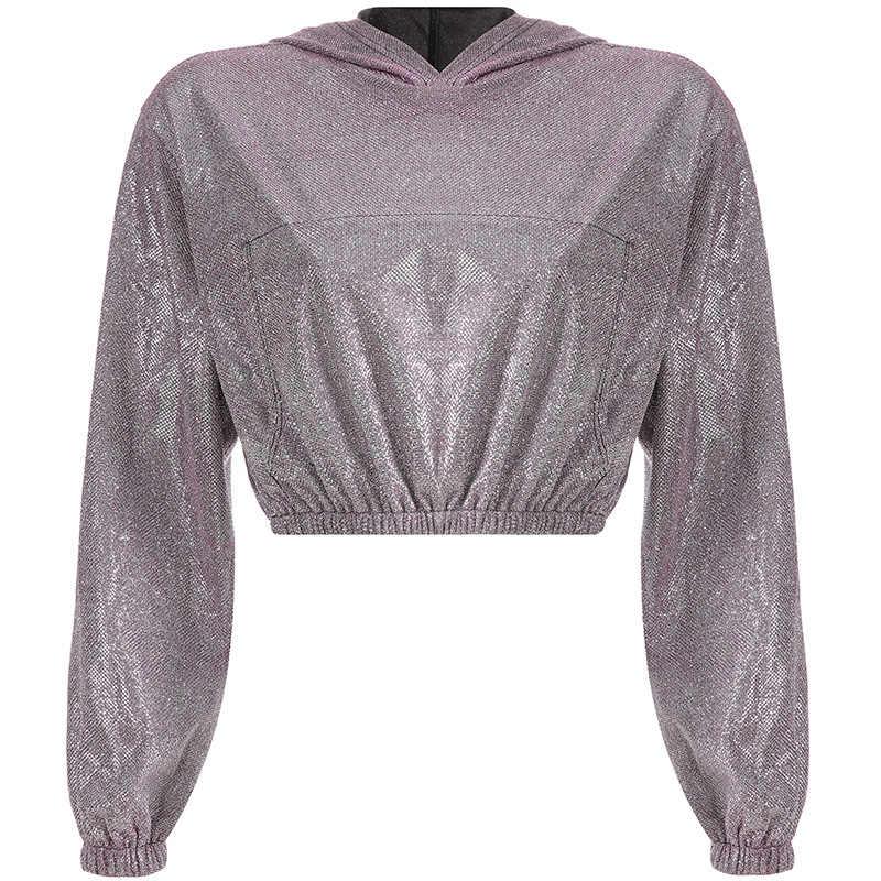 4e81c16443 2019 Glitter Crop Top Hoodie Women Pullover Short Sweatshirts Long Sleeve  Oversized Sweatshirt Crop Top Female Streetwear