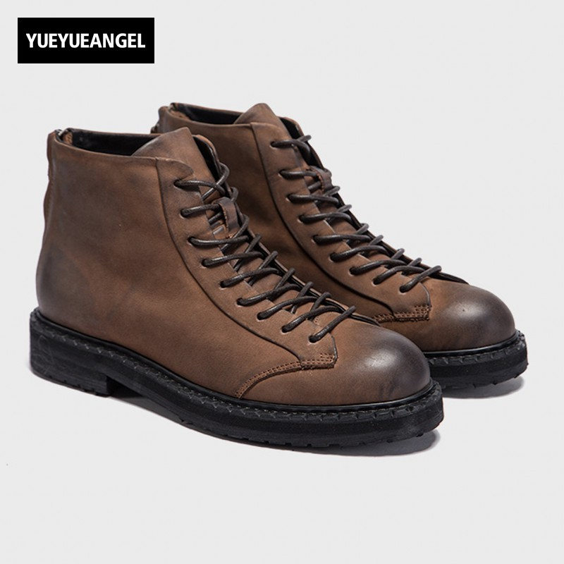 Top Quality Men Winter Cow Real Leather Ankle Boots Round Toe Motorcycle Safety Shoes High Top Retro Washed Lace Up Martin Boots цена