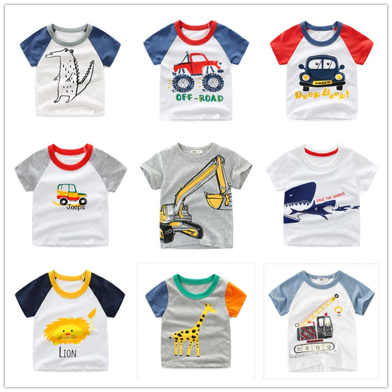 Casual Fashion Summer Toddler Baby Boys Cotton Style Short Sleeve O-Neck Pullover Cartoon Print T-Shirts