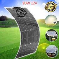 LEORY гибкие Панели солнечные тарелка 80 Вт 18 В Солнечный Зарядное устройство для автомобиля Батарея 12 В Sunpower монокристаллического кремния кле