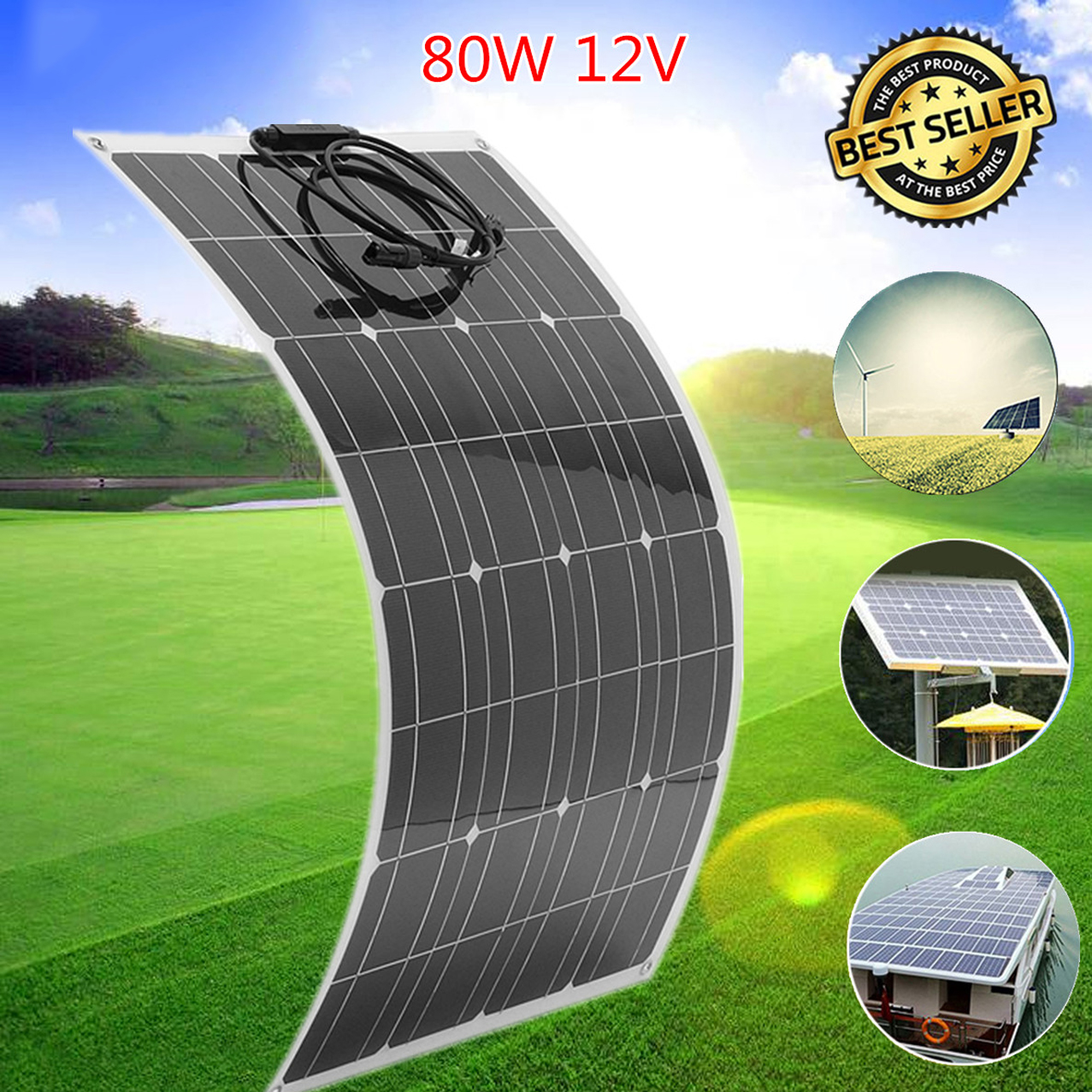 цены на LEORY Flexible Solar Panel Plate 80W 18V Solar Charger For Car Battery 12V Sunpower Monocrystalline Silicon Cells Module Kit