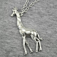 WYSIWYG Fashion Simple Antique Silver Color Giraffe Pendant Necklace , 70Cm Chain Long Necklace Dropship Suppliers