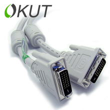 OKUT High quality DVI to DVI DVI-D 24+1 adapter Gold plated Male to Male Dual Link Cable For TFT Monitor XC1192