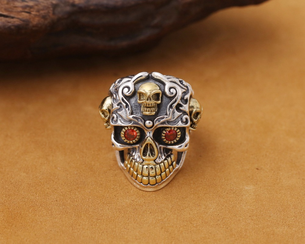 S925 sterling silver ornaments personality punk trend restoring ancient ways with copper red eye skull ring can be adjusted J135