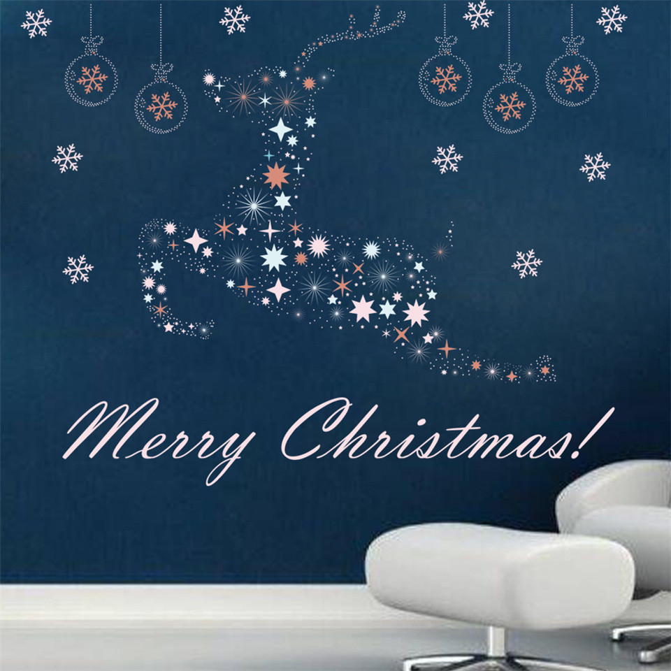 Christmas Wall Decals Removable.Removable Christmas Wall Stickers For Showcase Shopcase