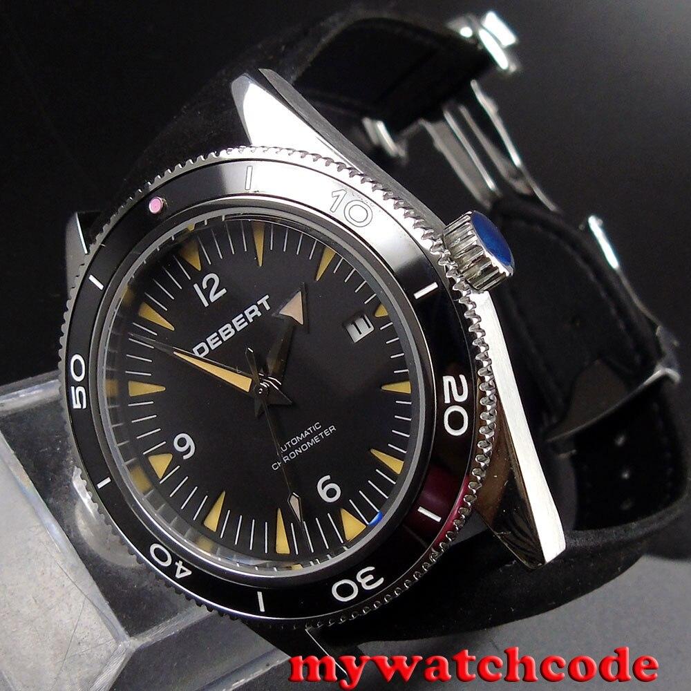 где купить 41mm debert black dial date 21 jewels miyota 821A Automatic mens wrist Watch D17 по лучшей цене