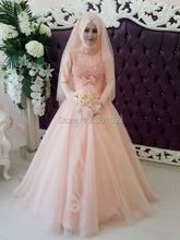 Oumeiya OW520 Pink Tulle Heavy Beaded Hijab High Neck Long Sleeve Muslim Evening Dress 2016