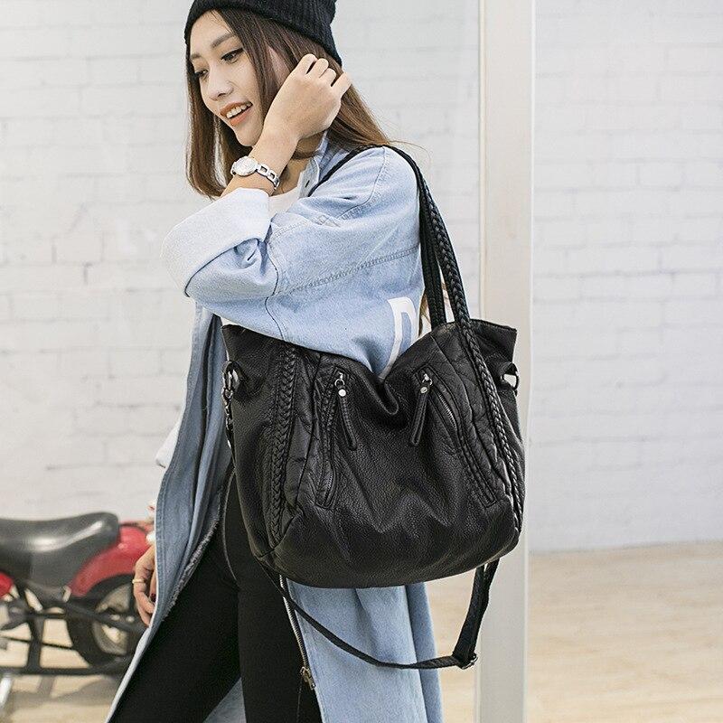 2018 knitting handbags new fashion women super big casual tote bag  high quality PU handbag solid shoulder messenger bags 759