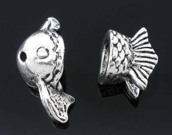 Cuentas de aleación de metal de Zinc casquillos de plata antigua (se adapta a cuentas de 10mm-14mm) patrón de pescado 10mm-23mm x 10mm-13mm, 1 juego nuevo