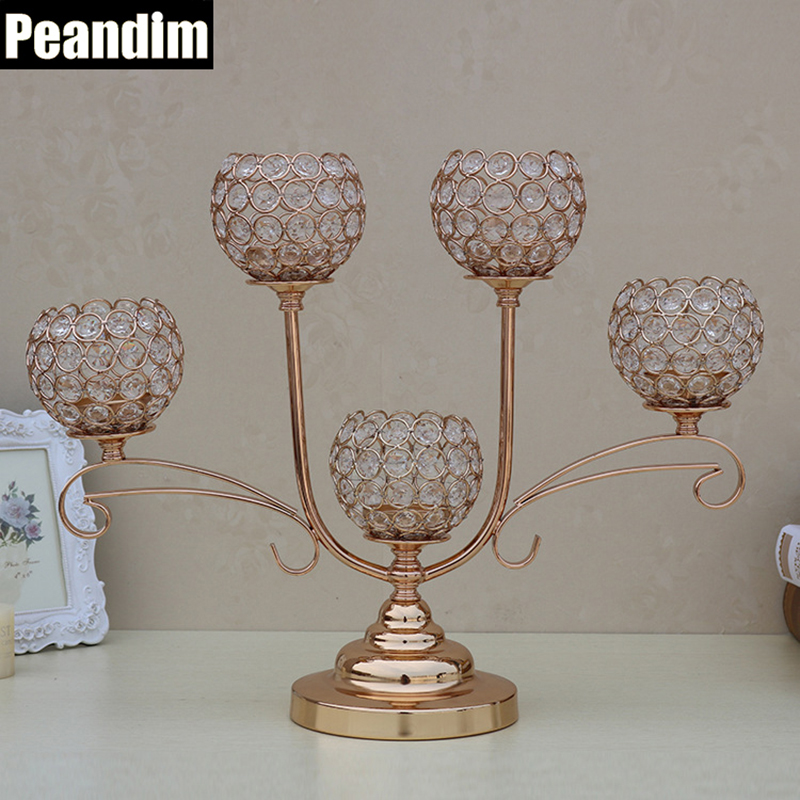 PEANDIM Vintage Pillar Crystal Candle Holder Dining Living Room Best Wedding Birthday Anniversary Gift Gold Table Centerpieces