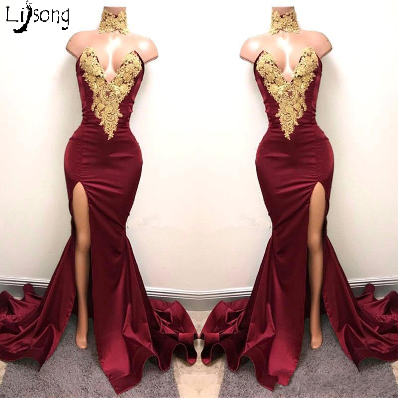 Hot Burgundy Gold Appliques Sheath Mermaid Prom Dress Strapless High Leg Split Custom Made Party Maxi Gowns For Charming Women