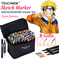 TOUCHNEW 30 40 60 80 168 Colors Markers Dual Head Alcohol Based Sketch Markers Pen Drawing
