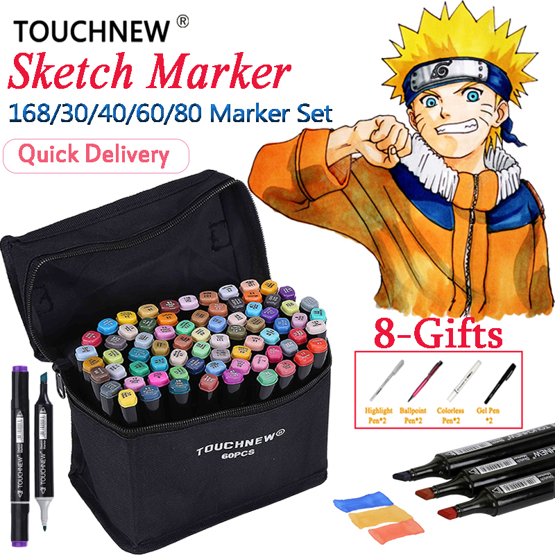 TOUCHNEW 30 40 60 80 168 Colors Markers Dual Head Alcohol Based Sketch Markers Pen Drawing Art marker Pen Stabilo Art Supplie я immersive digital art 2018 02 10t19 30