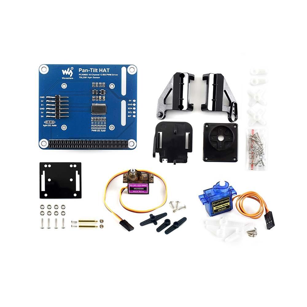 Waveshare 2-DOF Pan-Tilt HAT For Raspberry Pi, Light Intensity Sensing, I2C Interface,compatible With Raspberry Pi Zero/Zero W