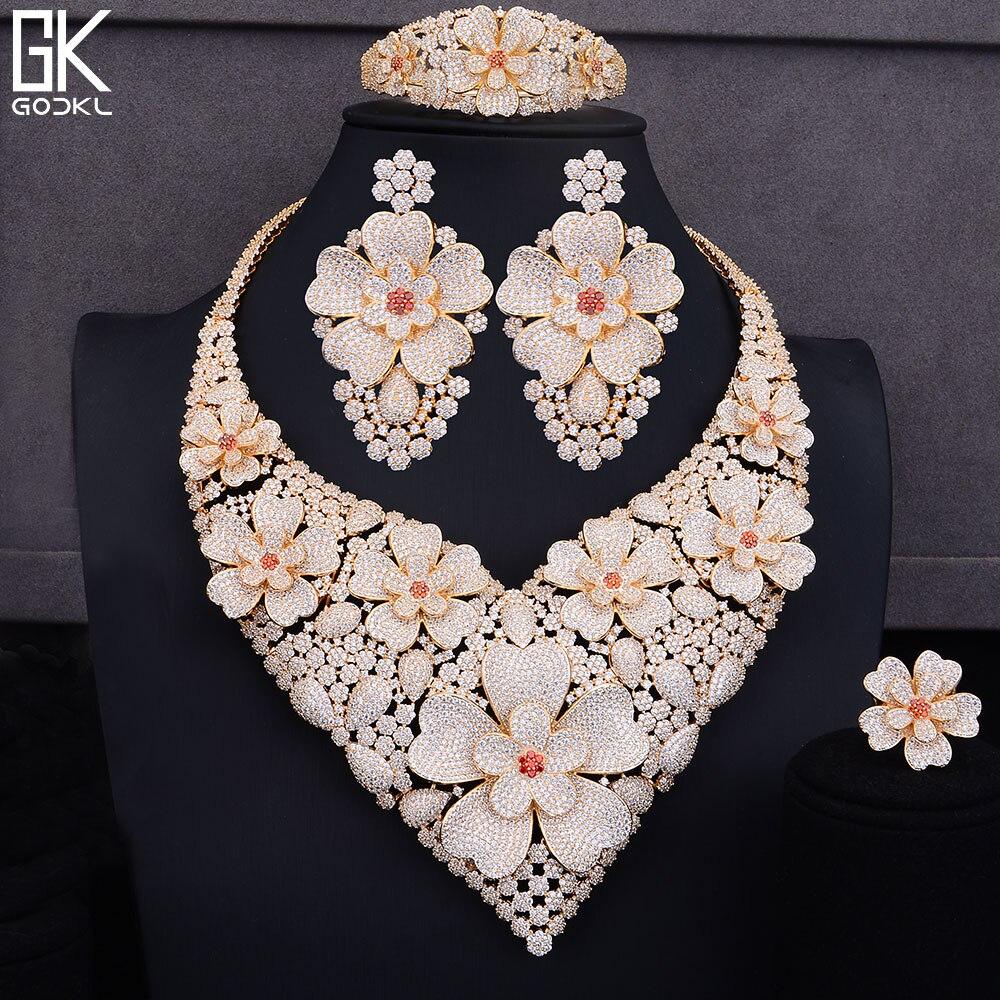 GODKI Super luxe fleur or ensembles de bijoux pour les femmes de mariage cubique zircone collier boucles d'oreilles ensembles Dubai bijoux de mariée ensemble 2018