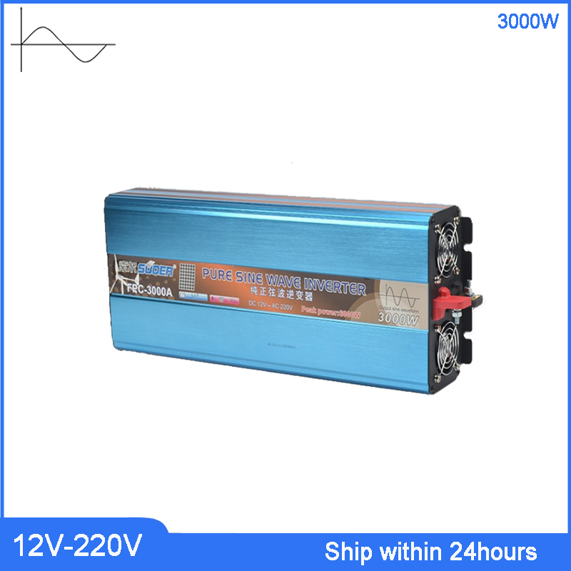 3000W High Power Inverter DC 12V to AC 220v Power/Truck Inverter with 5V USB Port/Customized Socket Pure Sine Wave Transformer