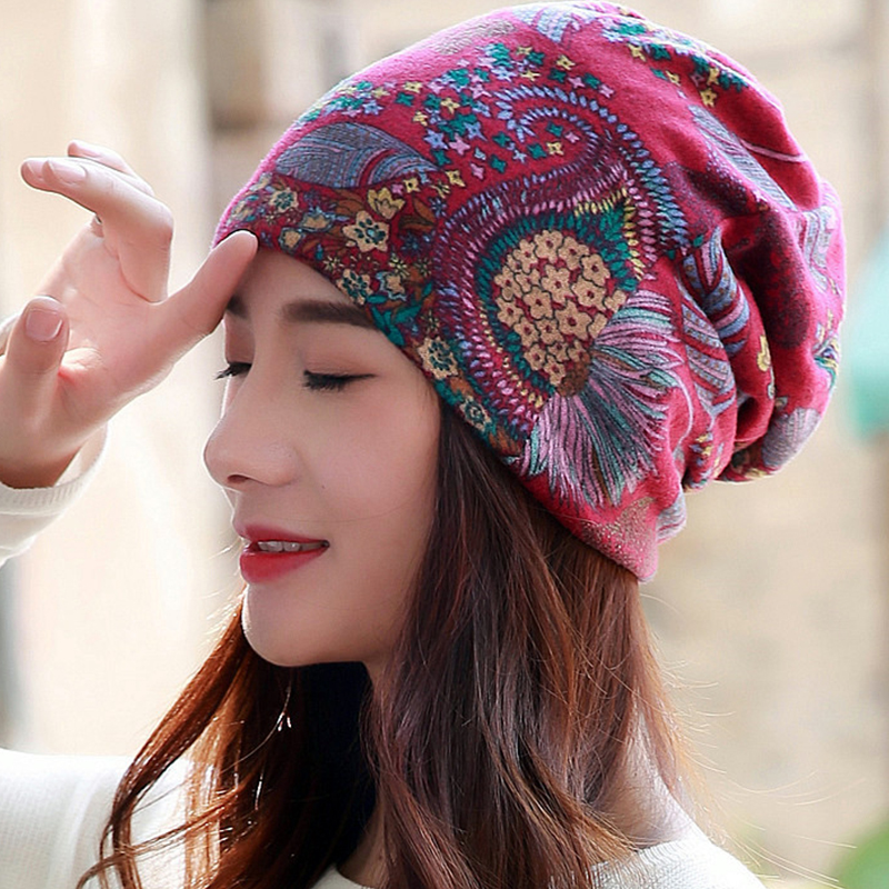 LongKeeper New Women Hat Polyester Adult Casual Floral Women 39 s Hats Spring Autumn Female Cap Scarf 3 Colors Fashion Beanies in Women 39 s Skullies amp Beanies from Apparel Accessories