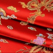 Brocade Jacquard Cloth Costume Chinese Wedding COS clothing cheongsam Damask Satin fabric Red background Dragon Phoenix