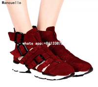High Quality Wine Red Genuine Leather Women Casual Shoes Cut outs Thick Bottom Chaussure Femme With Buckle