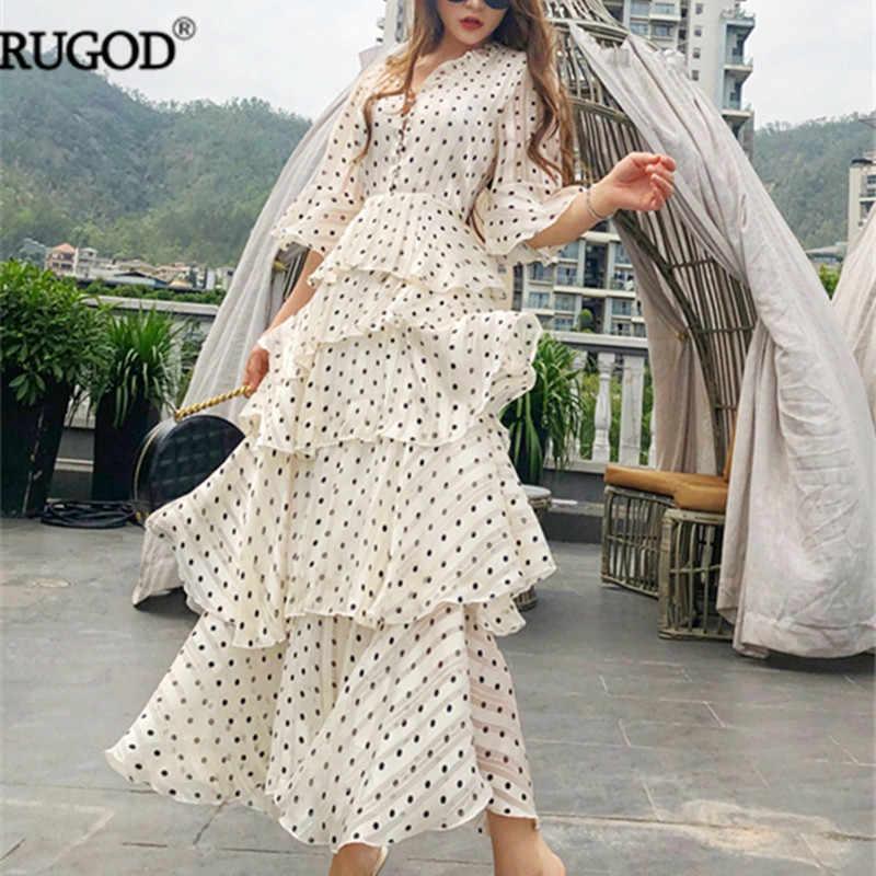 RUGOD 新夏半袖カスケードフリル女性のエレガントなロングフリルドレス自由奔放に生きるスタイルホリデーマキシドレス Vestidos