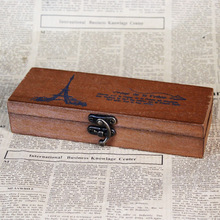 Vintage Paris Style Wooden Gift Box Metal Lock Jewelry Storage Handmade Treasure Chest Case Ring Necklace Container
