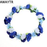 AWAYTR New Rose Flower Garland Bride Headband Hairband Wedding Party Festival Princess Style Floral Wreath Headpiece